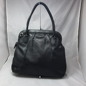 BANANA REPUBLIC Black Glove Leather Framed Satchel